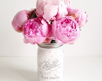 Hand painted large mason Ball jar in black or silver marble / splatter finish - vase, wedding centrepiece