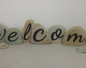 Custom Individual Welcome Rocks, Welcome Rocks for garden, Garden Stone, landscaping stone, Custom Rocks for the home