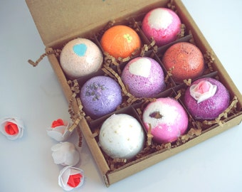9 Pack Bath Bombs valentine gift Set. Ultra Lush Handmade fizzy bomb with Shea Cocoa Butter. Moisturize Dry Skin.