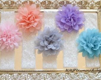 Lace Flower Baby Headband SET- Baby Headbands- Lace headband- Flower headband- Baby Photo Prop-Headbands- Pink Baby Headband