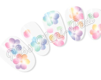 Nail Art Water Slide Decals Transfers Stickers Pastel Petals and Flowers Transparent Pretty T137