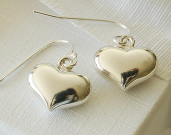 Silver Heart Drop Earrings (ERO14 - box) ~ Wedding, Anniversary, Bridesmaid, Birthday Earrings