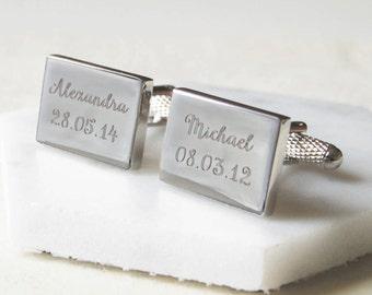 Personalised Rectangular Cufflinks ~ Engraved, Wedding, Anniversary, Birthday, Father's Day, Cufflinks