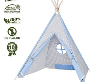 my-teepee Play Tent, Made in Germany, natural materials, wooden sticks from Aspe, cover 100% cotton, Oekotex 100, height 4.9 ft. (150 cm)