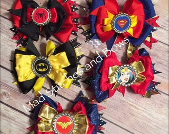 Superhero hair bow. Batman, spiderman, superman choose your bow
