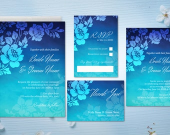 DIY Printable Wedding Invitation Template | Kit | Roses | Flowers | Blue | Floral | Watercolor | INSTANT DOWNLOAD - Microsoft Word