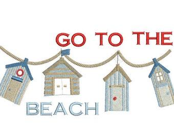 Beach cabin embroidery design