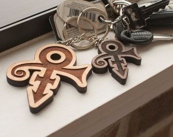 Prince Symbol Key Chain - Laser Engraved Pop Culture Keychain - Multiple Wood Options: Cherry, Walnut - RIP, Legendary Musician, Purple Rain