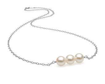 "White Akoya Pearl ""Barre"" Pendant, 7.0-7.5mm"