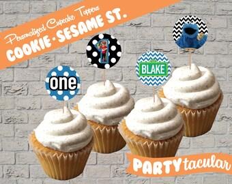 Cookie Monster Sesame Street Cupcake Toppers