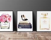 Set of 3 fashion posters Chanel Christian Louboutin, Watercolor, Peonies, Gold, Chanel watercolour Fashion decor fashion illustration Chanel