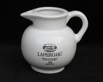 "Vintage Laphroaig Whisky Ceramic Water Jug 4.5"""