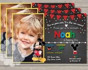 Mickey  Birthday Invitations /  Mickey Invitation  / Mickey Mouse /  Birthday / Mickey's sale / Mickey Mouse / Mickey First Birthday
