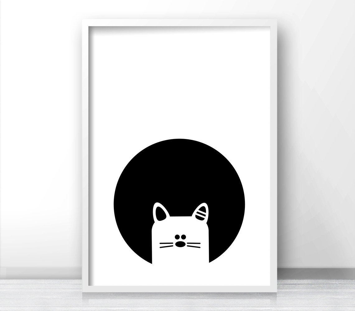 Black And White Nursery Wall Decor : Cat nursery wall art black white print kids