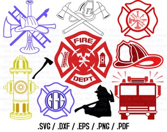 Firefighter SVG File, Fireman SVG Art, Fire Fighter Design Files, Silhouette Software, dxf files, svg file, EPS File, Cricut Design - CA352