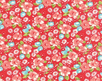 Moda Fabrics - Little Ruby / Little Swoon Red Floral with Coral, Aqua, White Flowers - Bonnie and Camille