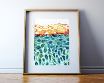 Skin Histology Watercolor Print - Skin Cell Art - Integumentary System - Epidermis Art - Abstract Anatomy Art