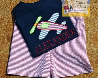 Boys Personalized Airplane Shirt- Airplane Tshirt- Airplane Tee- Monogrammed Shirt- Toddler Short Set- Size 12m, 18m, 2t, 3t, 4t, 5t, 6