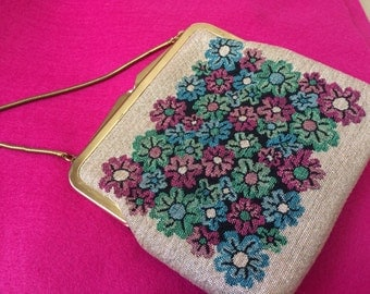 Vintage Gold shimmery Flower Pouch Purse