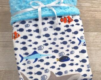 Minky Baby Boy Blanket Sharks Baby Blanket Ocean Clownfish Beach Minky Stroller Blanket Nautical Crib Blanket Baby Shower Gift