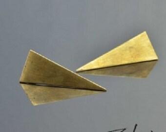 Earrings Triangle Bronze