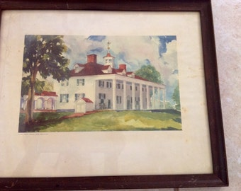 Mount Vernon Watercolor Print dated 1937