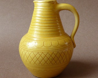 Wilhelm Kagel pottery vintage vase yellow ochre honey studio pottery