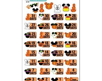 Disney Halloween Countdown Stickers - Disney Planner Stickers
