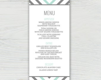 Mint and Gray Wedding Menu, Chevron Menu, Mint and Gray Wedding Invitation, Chevron Wedding Invitation, Modern and bold wedding invitation