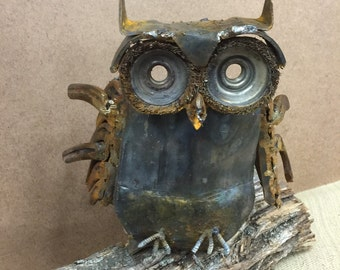 Handmade Metal Owl Sculpture (Small) One of a Kind, Made from Reclaimed Materials