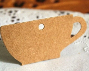 6X3.3cm Creative kraft paper coffee cup card, kraft paper cups tag gift tag 200pcs
