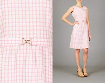 Vintage Pink & White Check Dress