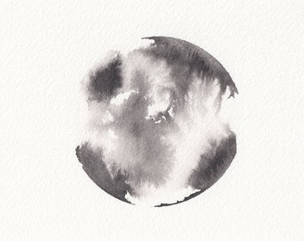 Original Ink Painting Small A6 - Black Ink Circle