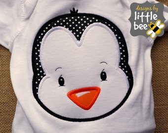 penguin boy or girl winter Christmas applique design in 4x4, 5x7, and 7x7. embroidery pes dst +more Instant Download! bean stitch