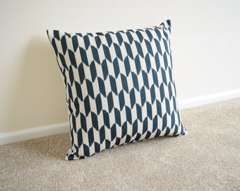 Black Geometric/Scandinavian Cotton Linen Cushion/Pillow Cover in 18 x 18""
