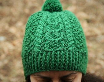 Caiseal Aran Fisherman Hat Kelly Green Wool Size Adult Small/Medium