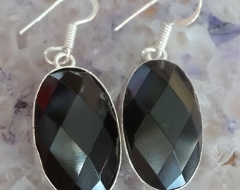 Natural Sterling Silver Black Onyx Earrings Dangle Beautiful - Natural Black Onyx Stone - Absolutely Gorgeous! Boho Chic Earrings