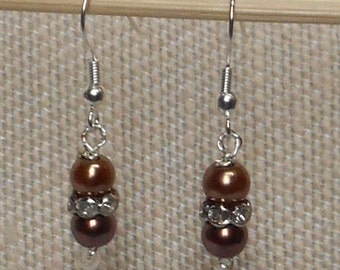Copper and Bronze Pearl Earrings