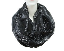 Black Music note scarf , music note Infinity Scarf Spring Summer Scarf Women Fashion Accessories Gift For Her