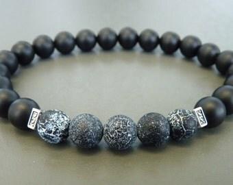 Mens Bracelet, Gift for Men, Bracelet for Men, Stretch Men Bracelet, Matte Black Onyx Bracelet, Mens Black Bracelet, Black Agate Bracelet