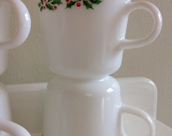 Corningware Pyrex Christmas mugs - set of 8, Christmas Holly mugs, vintage Christmas mugs