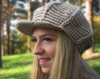 Beige Newsboy Hat, Mens Hat with Visor, Teens Hat, Hat For women, Mens Hat, Crochet Hat, Fall Newsboy Hat, Winter Hat, Christmas Gift