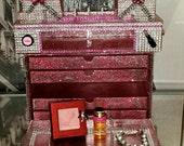 On Sale! Acrylic Makeup Organizer Case (Pink) w/ 5 Drawers, Mirror, Vanity Tray, Brush Holder, Beauty, Rhinestones, Cosmetic Storage Cube