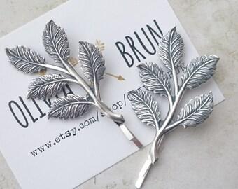 Silver Leaf Branch Bobby Pins Leaf Branch Hair Clips Grecian Hair Bridal Hair Wedding Accessories