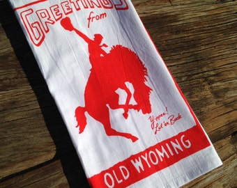 Greetings from Old Wyoming - Old Wyoming Collection Tea Towel