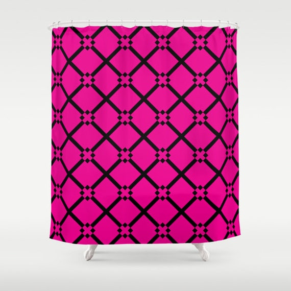 Shower Curtain Hot Pink And Black Choose By KaliLaineDesigns