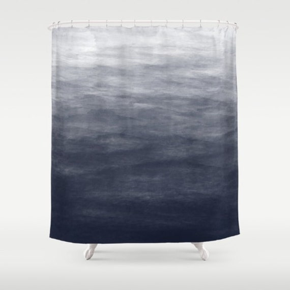 Navy blue grey ombre watercolor shower curtain bath curtain standard