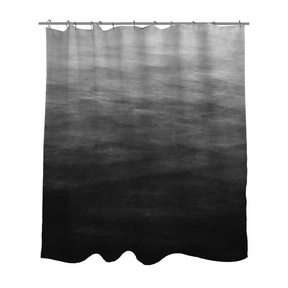 Dark Grey Ombre Watercolor Shower Curtain Bath Curtain