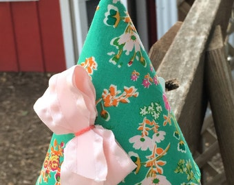 Kid's Fabric Party Hat (green floral print)