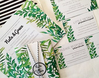 Tropical Palm Springs Wedding Invitation Suite. Physical & Digital File